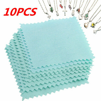 10Pcs Jewelry Platinum Gold Sterling Silver Polishing Cleaner Cleaning Rub Cloth