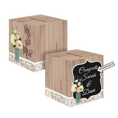 Rustic Wedding Card Box Mr & Mrs Flowers Roses Personalise Chalk Board