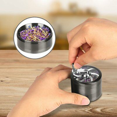 "BLACK Herb Grinder w/ Handle Spice Crusher for Tobacco Hand Muller 2"" 4 Piece"