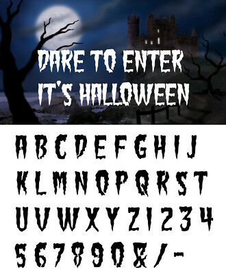 HALLOWEEN Alphabet Letter stencil #181 A - Z & numbers  2, 3, 4, 5 or 6cm sizes