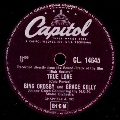"BING CROSBY & GRACE KELLY ""High Society""   True Love   SOUNDTRACK   78rpm S9841"
