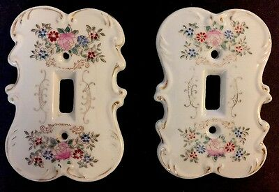 Vintage Arnart Japan Floral Porcelain Light Switch Cover Plates pink blue gold 2