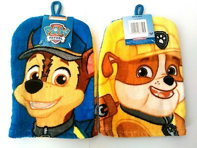 BNWT Paw Patrol Chase & Rubble 2 x Images Wash Mitt Glove Face Cloth Gift