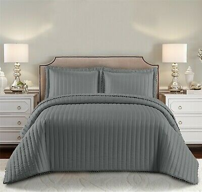 Diamond Reversible 5 Piece Bedspread Bed Throw Comforter Grey Quilted Bed Spread