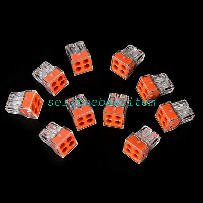 20 Pcs PCT-104 Push wire wiring cable connector 4 pin conductor terminal block