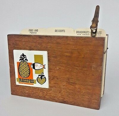 Wooden Mid-Century 3x5 Recipe Card Holder Box Storage with Divider Cards