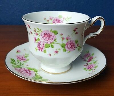 Avon Pink Roses Teacup Fine Bone China 1974 Cup and Saucer England