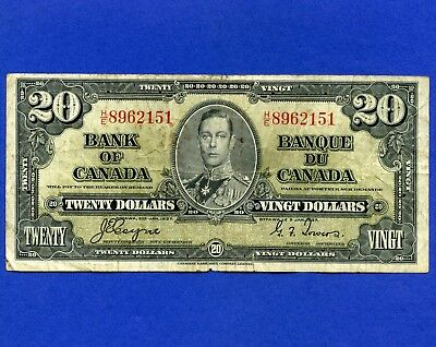 Canada 1937 20 Dollar Bank Note S/N HE8962151