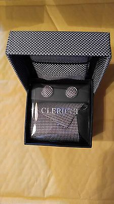 Clericci Tie Cuff Links Handkerchief Box Set, Men's Tie Set