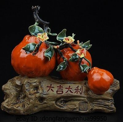 China Pottery Wucai Porcelain Home Display Fengshui Lucky Pear Decoration Statue