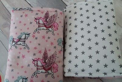 Unicorn Cot Bar Bumpers/Wraps pink grey
