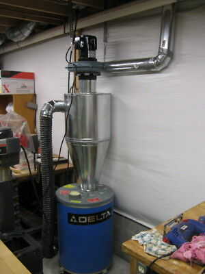 Cyclone Dust Collector - 6 inch inlet on Left, made from galvanized steel.