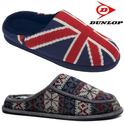Dunlop Mens Slippers New Fairisle Slip On Cushioned Sole Winter Mules Shoes Size
