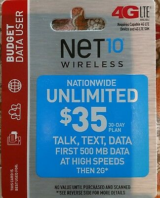 Net10 Nationwide unlimited $35 phone card reload to any phone with Net10 SIM
