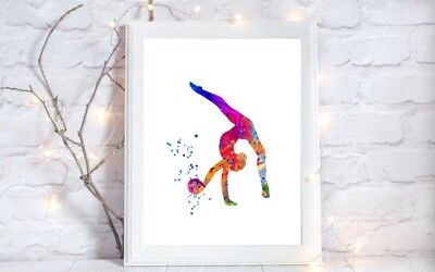 gymnastics print dance Watercolor a4  Print wall art picture gift 92 unframed