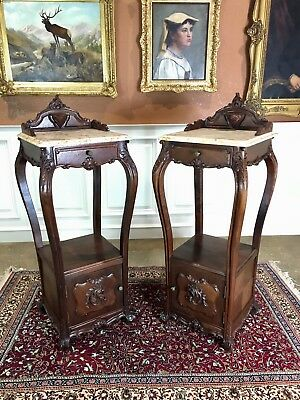 Matched Pair Of Ornate Mahogany French Nightstands. 19th Century