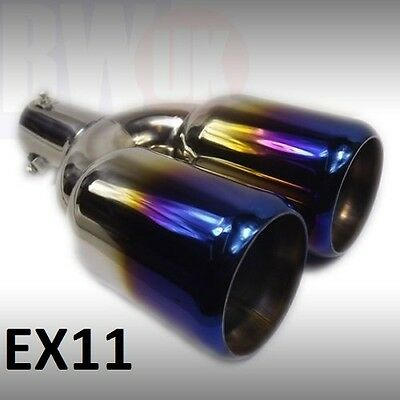 "12"" Dual Twin Large Heavy Duty Steel Exhaust trim tailpipe tip big bore 62m EX11"