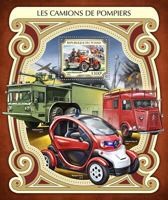 Chad 2017 MNH Fire Engines Trucks Laurin Klement M-F Oshkosh P15 1v S/S Stamps