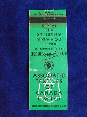 Associated Textiles Of Canada Fabric House Atc Vintage Matchbook Excise Tax