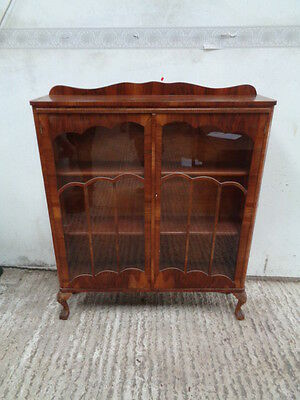 vintage glass fronted display cabinet ball and claw feet