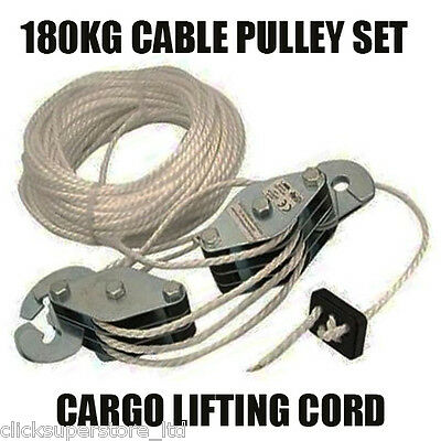 Cable Pulley Set 180 Kg Lifting Cord Cargo Strong Rope Hook Throttle Set U115