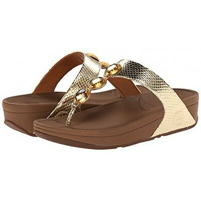 a5937b60c New Fitflop Women Size 11 Us Petra Jeweled Sandals Leather Pale Gold  100