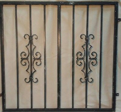 "Vintage Black Distressed Wrought Iron Garden/Fence Entry Gate- 39.5"" x 37.5"""