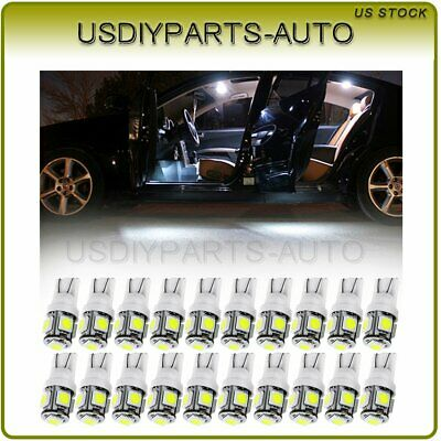 20X White 5-SMD LED Trunk Map Dome License Plate Light Bulbs T10 194 168 2825