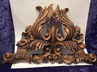 Vintage ornate Window Drapery Swag Center Crest holder bracket, French Cornice