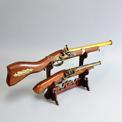 "Gift Home Decoration 22"" Rifle & 15"" Pistol Model Set Wooden Display Stand #070"