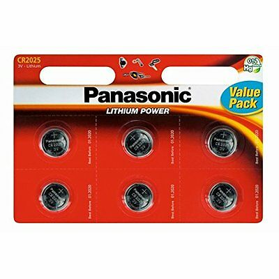 6 x Panasonic CR2025 3V Lithium Coin Cell Battery
