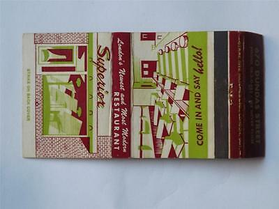 London's Newest Most Modern Restaurant Superior Dundas Str Vintage Matchbook