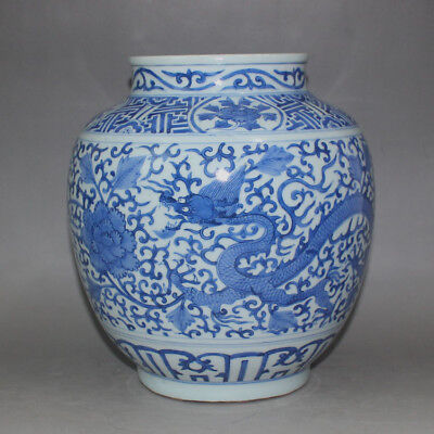 123 Rare Chinese Old Collection Blue-and-White Dragon&Phoenix Porcelain Pot