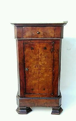 Antique Amazing French Burl Walnut Nightstand End Table Cabinet top Marble 19th