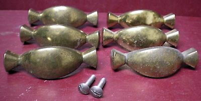 6 Vintage Mid-Century Drawer Pulls Handles Off Of A Bread Kitchen Cabinet