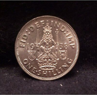 1938 Great Britain silver shilling, Scottish crest, key year, KM-854 (GB5)