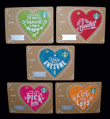 Starbucks Gift Card Valentine's Day Mini Hearts Cards Lot Of 5 New Limited 2017
