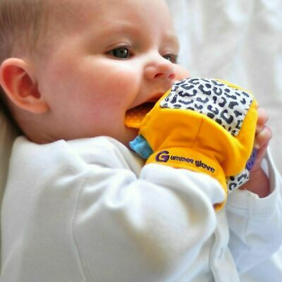 NEW Gummee Glove Baby Teething Mitten Silicone Ring Teether Toy Gift - Yellow