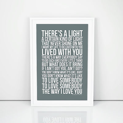Bee Gees To Love Somebody Lyrics Poster First Dance Wedding Gift A3 A4 Size