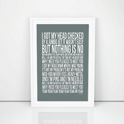 Blur Song 2 Lyrics Poster Printed Artwork Song A4 A3 Size First Dance Wedding