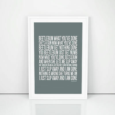 Blur Beetlebum Lyrics Poster Printed Artwork Words A4 A3 Sizes Wedding Gift Wall
