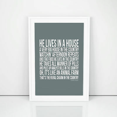 Blur Country House Lyrics Poster A4 A3 Size Typography Wall Art Artwork Picture