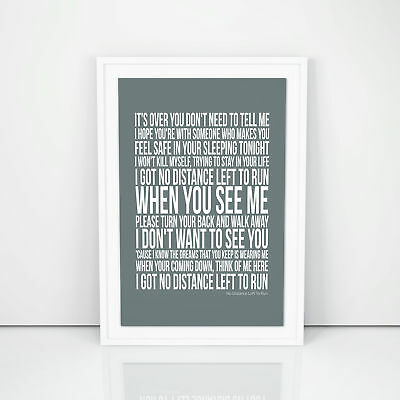 Blur No Distance Left To Run Poster Lyrics Song A4 A3 Sizes Wall Art Printed