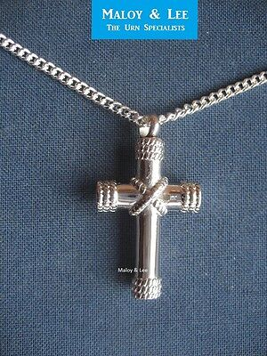 Silver Cross with Ropes Cremation Keepsake Pendant Jewellery Necklace Urn
