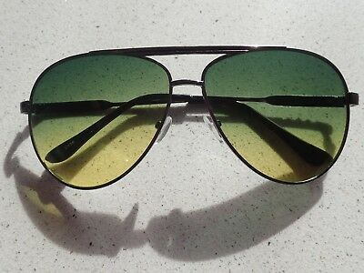 Cool Classic Vintage Aviator Sunglasses Green & Yellow Lens