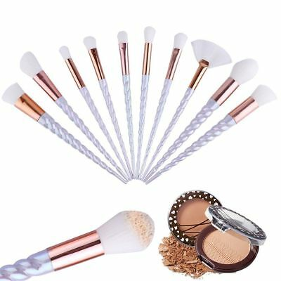 10 Unicorn Makeup Brushes Set Powder Foundation Eyeshadow Cosmetic Spiral Brush