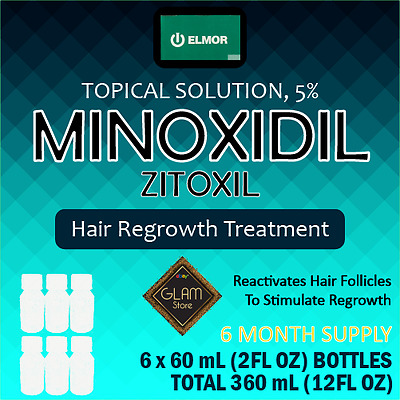 5% Minoxidil Extra Strength Men Hair Regrowth Solution (Zitoxil) 6 Month Supply