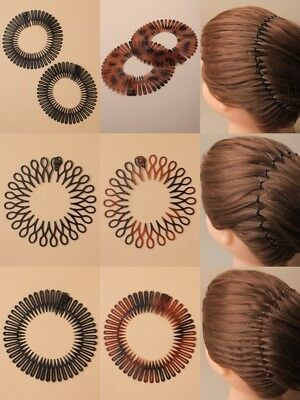 Pack Of 6 Flexi Combs, Hair Styler, Head Band, Sport, Work, Fashion, Black, Tort