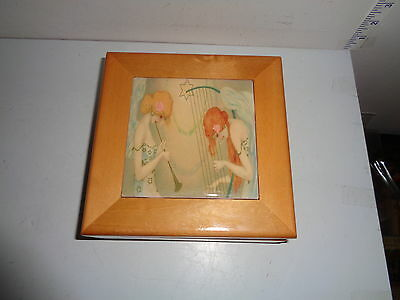 Vintage Wooden Lidded Music Box With 2 Girl Musicians (6.5 by 6.5 by 3 inch)