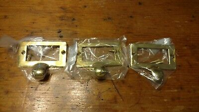 "3 Brass Library Card File Holder Handles Antique Style 2 3/8"" wide with screws"